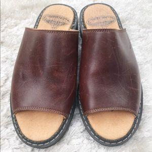 John Fluevog Leather Slide Sandals Chunky